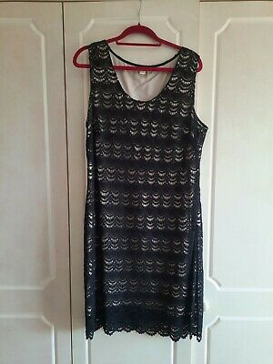 £6.99 • Buy Monsoon Ladies  Dress- Black Lace Over Beige Linning-size 20-pre Worn X Conditio