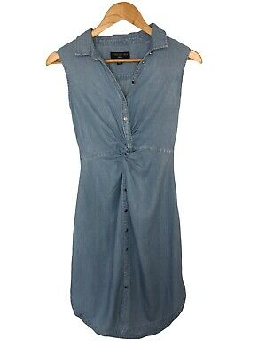 AU29.95 • Buy FOREVER NEW Womens Denim Sleeveless Button Collared Gathered Shirt Dress Size 6