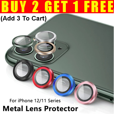£2.68 • Buy For Apple IPhone 12 11 Max Mini Camera Lens Protector Tempered Glass Metal Rings