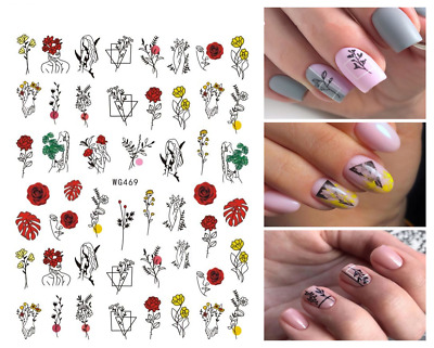 £2.25 • Buy Nail Art Stickers Transfers Decals Abstract Face Flowers Boho Bohemian Rose W469