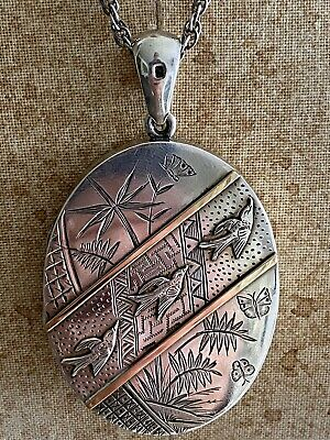 £285 • Buy Antique Victorian Aesthetic Large Oval Silver And Gold Locket Pendant 1880 Birds