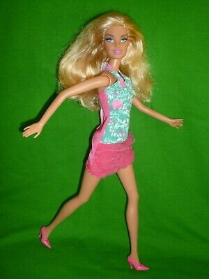 £4.99 • Buy Blonde Barbie Doll Wearing And Aqua And Pink Dress ~ Bend Leg Type