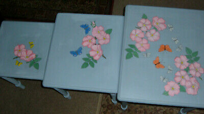 £45 • Buy Vintage  Ducal Nest Of Tables Hand-painted Unique Design Wild Roses Shabby Chic