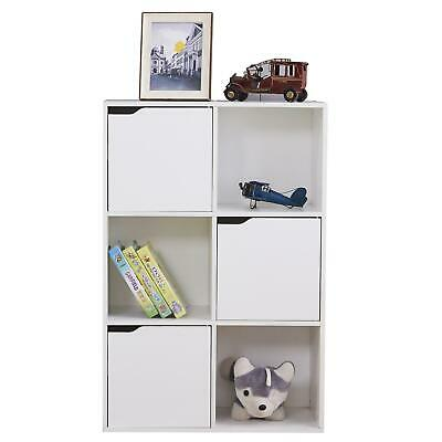 £27.95 • Buy Wooden Storage Unit 6 Cube 3 Doors Cupboard Bookcase Shelving Display White
