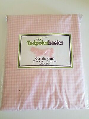 £4.40 • Buy Pink Gingham Tab Top Curtain Panel 42 X 63 Inches