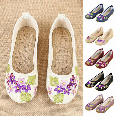 £13.98 • Buy Womens Chinese Embroidered Flat Shoes Lady Mary Jane Ladies Linen Floral Loafers