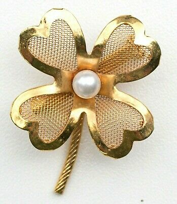 £3.53 • Buy Four Leaf Clover Shamrock W Pearl Gold Tone Mesh St Patrick's Day Brooch / Pin