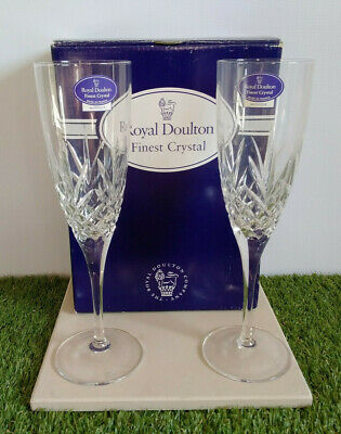 £20 • Buy 2 X Royal Doulton Crystal MONIQUE Champagne Glasses Brand New Boxed