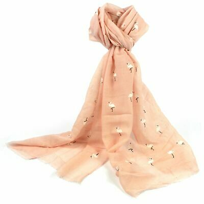 £6.99 • Buy Pale Pink Peach Flamingo Scarf White Bird Birds Summer Holiday Scarves Wrap New