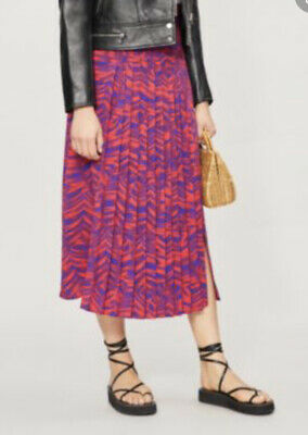 £9.99 • Buy Topshop Palm Print Pleated Skirt Tropical Red Blue 10 Summer Midi