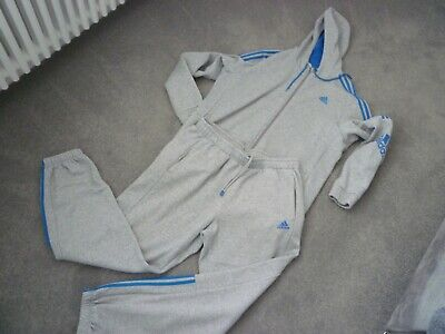 £40 • Buy Adidas Tracksuit Mens Xl Grey And Blue 2 Piece Active Wear Sports 3 Stripes L@@k