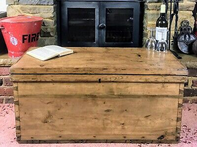 £102.98 • Buy Old Antique Pine Chest, Vintage Wooden Storage Trunk, Blanket Box, Coffee Table.