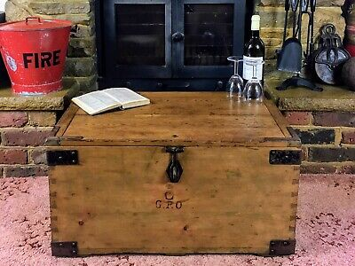 £56 • Buy Old Antique Pine Chest, Vintage Wooden Storage Trunk, GPO Tool Box, Coffee Table