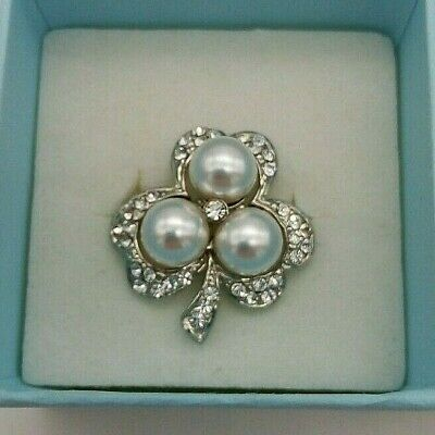£12 • Buy Shamrock Brooch With Rhinestones And Faux Pearls Silver Plated Pin And Back Eter