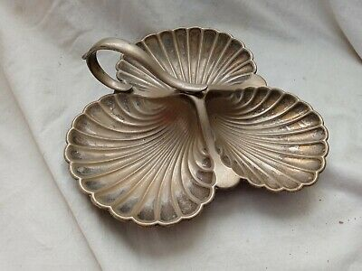 £13.53 • Buy Vintage ANTIQUE Silver Plated SHELL Serving DISH Seashell FEET And MAKERS MARK