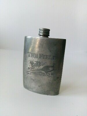 £12 • Buy England Sheffield Hip Flask THE FIELD Vintage 4oz Fishing Hunting Good Condition