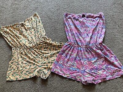 £4.20 • Buy Two Ladies Multi Patterned Bandeau Cotton Playsuits Uk Size 14-16 Great Cond