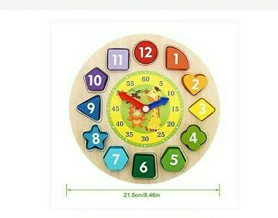 £4.99 • Buy Children Wooden Clock Shape Puzzle Early Learning Number Educational Toy