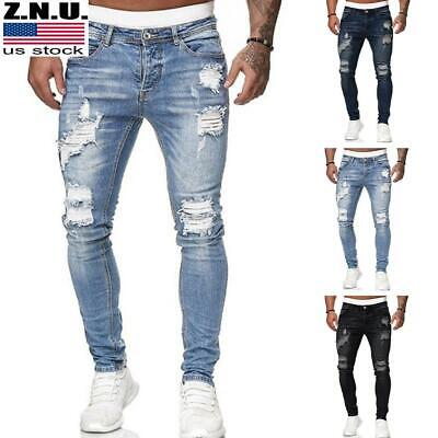 $34.09 • Buy Men Ripped Skinny Jeans Denim Slim Fit Pants Distressed Casual Stretchy Trousers
