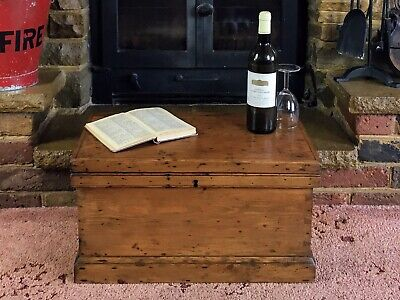£124.99 • Buy Old Antique Pine Chest, Vintage Wooden Storage Trunk, Blanket Box, Coffee Table.