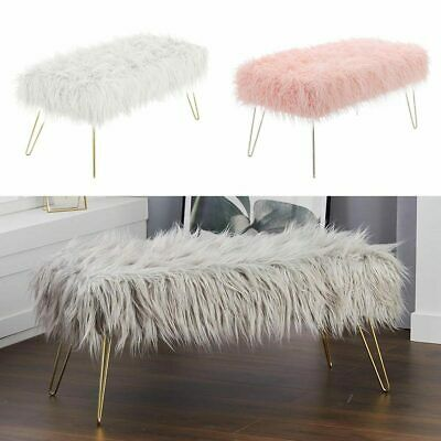 £95.95 • Buy Upholstered Fluffy Bench Sofa Footstool Window Seat Pouffe Stool Chair Metal Leg