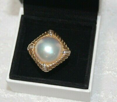 $500 • Buy Mabe Pearl 14K  585 Gold W/ Silver Corners & Inlay Diamonds Cocktail Ring