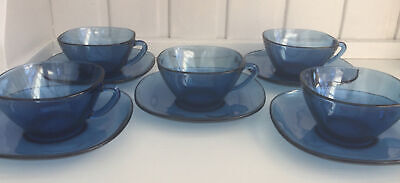 £35 • Buy Vintage Vereco French Blue Glass Coffee Cups And Saucers X FiVE PERFECT CONDTION
