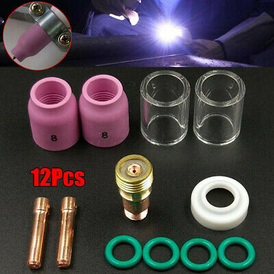£10.77 • Buy 12x TIG Welding Torch Gas Lens #10 Pyrex Cup Collet 2.4mm 3/32  For WP-17/18/26!