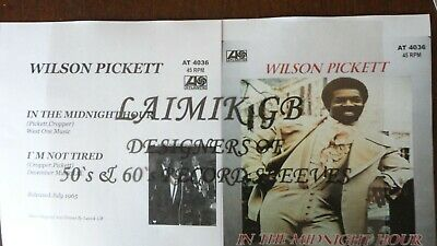 £4.99 • Buy Wilson Pickett:in The Midnight Hour:record Sleeve