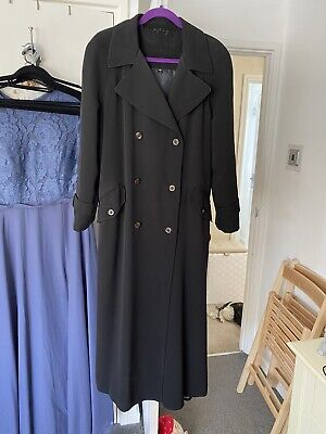 £19.99 • Buy Stunning Long Black Utex Size 12 Oversized Trench Coat GOTH EMO See Description