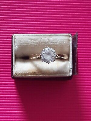 £23 • Buy Ladies 9ct 375  Gold Cz Sparkler Solitaire Engagement Band Ring Size J