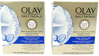 AU23.96 • Buy 2 Olay Daily Facials 5in1 Clean Water Activated Dry Cloths 33 Ea./66 Count