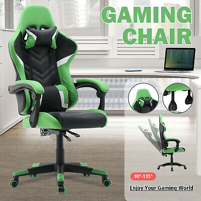 AU149.90 • Buy Gaming Chair 135° Recline Computer Racer Executive Office PU Leather Seat Green