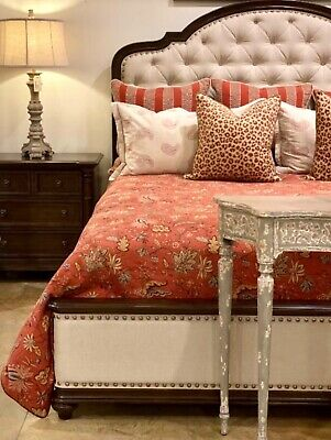 $2565 • Buy Handcrafted Art Nouveau Style King Bed With Mahogany Frame And Tufted Headboard