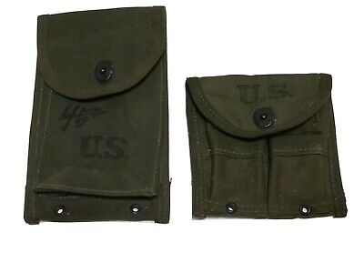$69.95 • Buy Lot Of 2 US WW2 .30 M1  Carbine 30rd. 4cellOD Mag Pouch And Double Mag Pouch