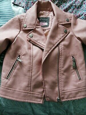 £6 • Buy Primark Girls Pink Faux Leather Jacket Size 18 - 24 Months New
