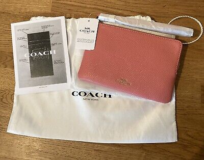 £28 • Buy Coach Wristlet Purse Bag Zip Pink With Dust Bag & Cleaning/Warranty BNWT Rrp£40