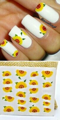 AU2.69 • Buy Sunflowers Nail Art Water Transfer Decal Stickers Nail Decor Slider AU