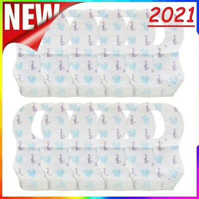 £3.18 • Buy Cartoon Elephant Disposable Baby Bibs With Food Catcher Pocket Pack Of 10