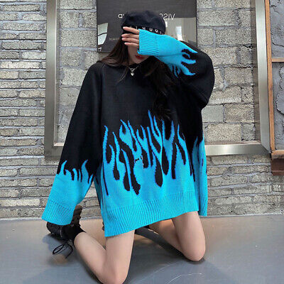 £15.98 • Buy Women Sweater Long Sleeve Flame Jumper Oversized Casual Knitting Pullover Top Q*
