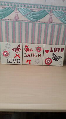 £21.55 • Buy Live Love Laugh Home Decor Canvas Wall Art 3 Picture Prints 7 By 7 Inch
