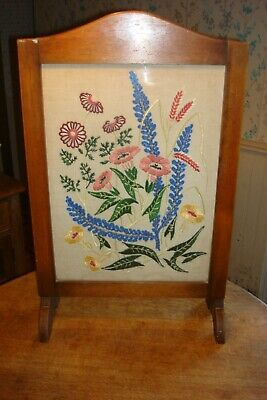 £49.99 • Buy ART DECO 1930s MAHOGANY FIRE SCREEN WITH EMBROIDERED FLORAL TAPESTRY PANEL