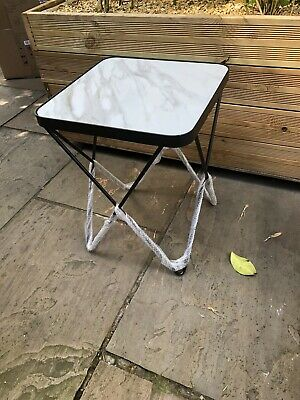 £60 • Buy John Lewis Pin Leg Garden Side Table With Marble Glass Top.