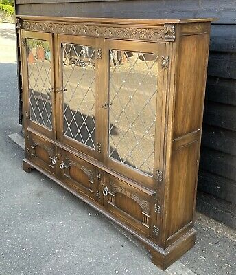 £275 • Buy Good Quality Bevan Funnell Reprodux Large Glazed Bookcase Display Cabinet