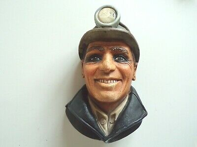 £25 • Buy LEGEND BOSSONS Style Chalkware Head Figure - MINER With HEAD TORCH - WALL PLAQUE