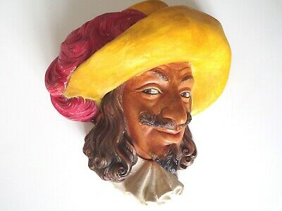 £25 • Buy BOSSONS Chalkware Heads Figure CAVALIER In YELLOW HAT - RARE  WALL PLAQUE