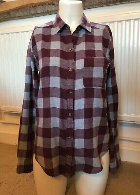 £3.50 • Buy Ladies Comfortable HOLLISTER Claret & Grey Checked Long Sleeve Shirt, Size XS