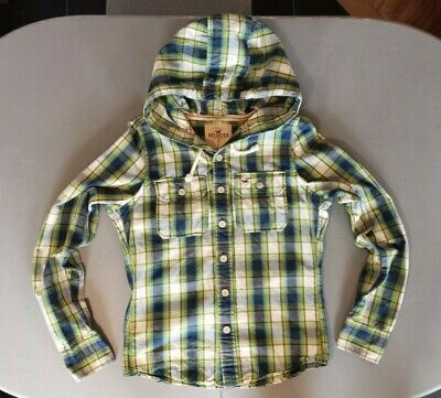 £6.49 • Buy Men's Hollister Hooded Navy, Lime, Blue & White Check Fitted Shirt - Size Small