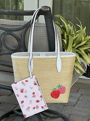 $ CDN194.88 • Buy Kate Spade Picnic In The Park Small Tote Bag Straw White Leather Strawberries