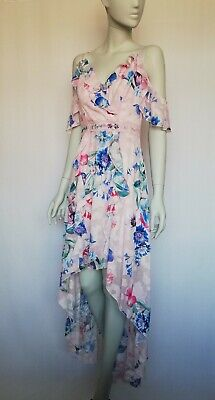 £21.99 • Buy New Lipsy Imogen Floral Print Cold Shoulder High Low Maxi Dress Size 10